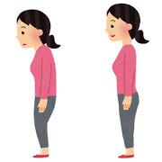 姿勢の悪い人・良い人のイラスト(女性)